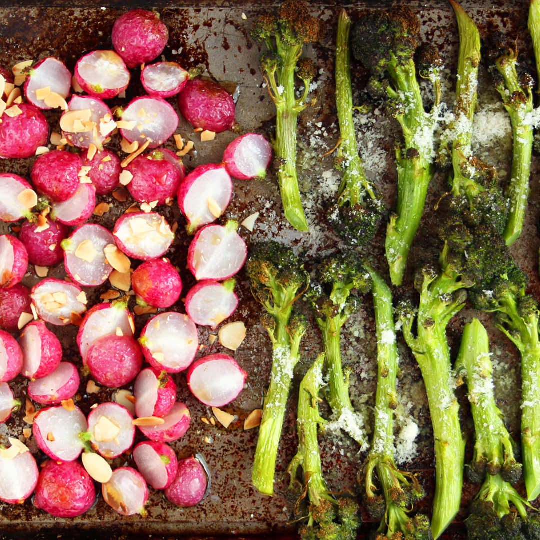 Roasted Radishes and Purple Sprouting Broccoli