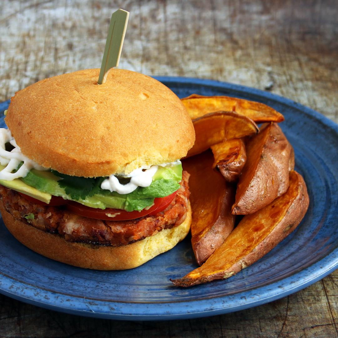 Vegan Bean Burger and Sweat Potato Wedges