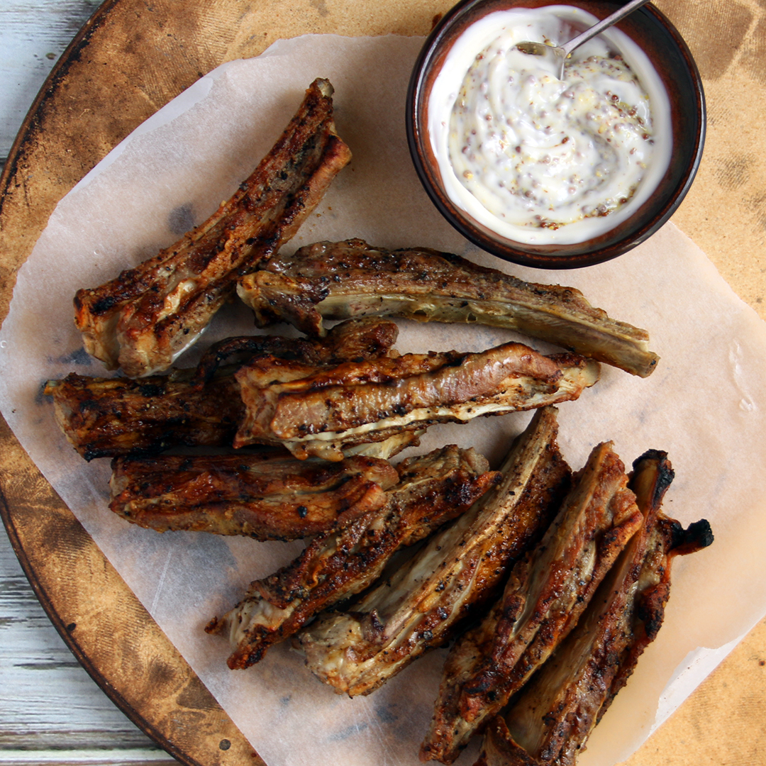 Lamb Ribs with Mustard Mayo
