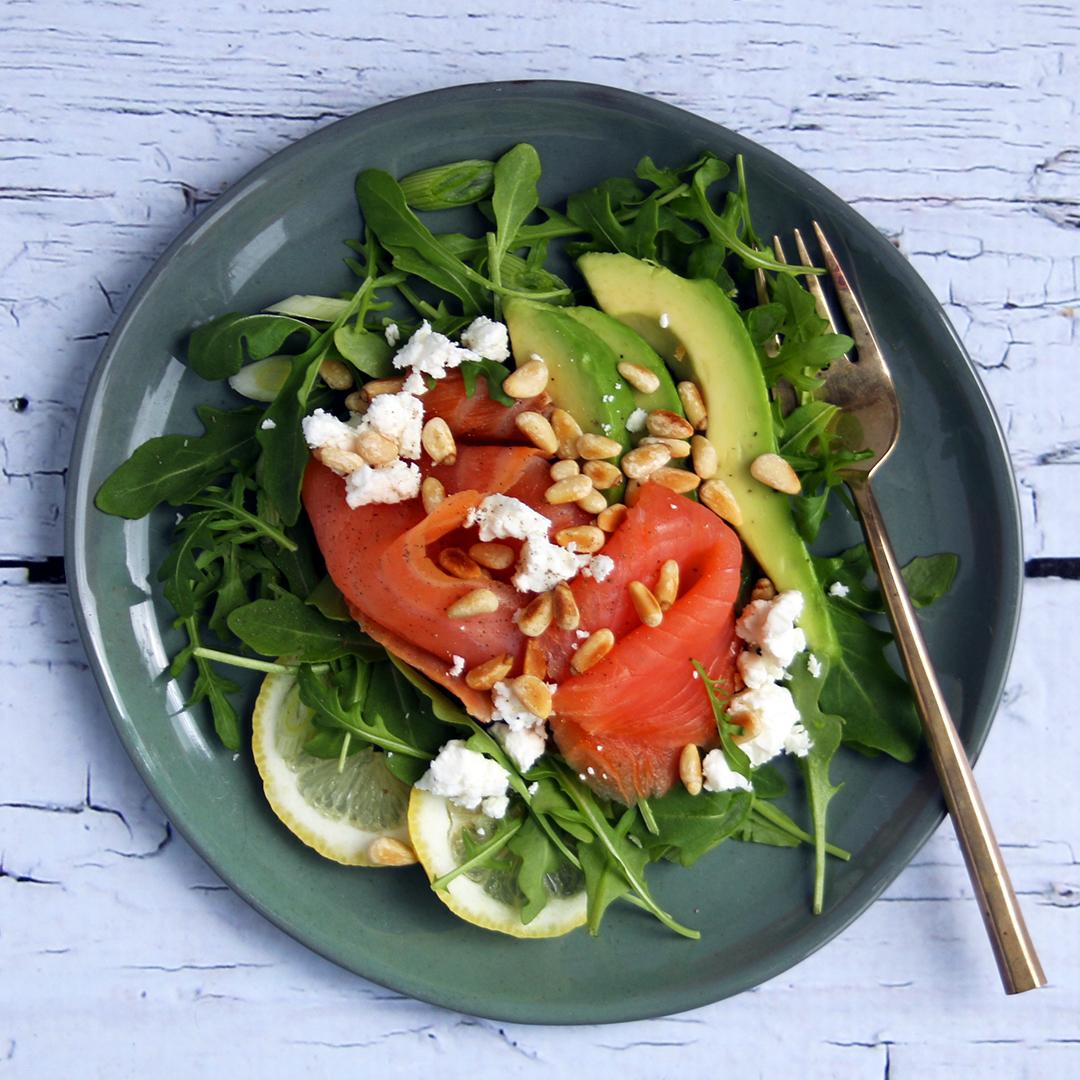 Smoked Salmon with Avocado Salad
