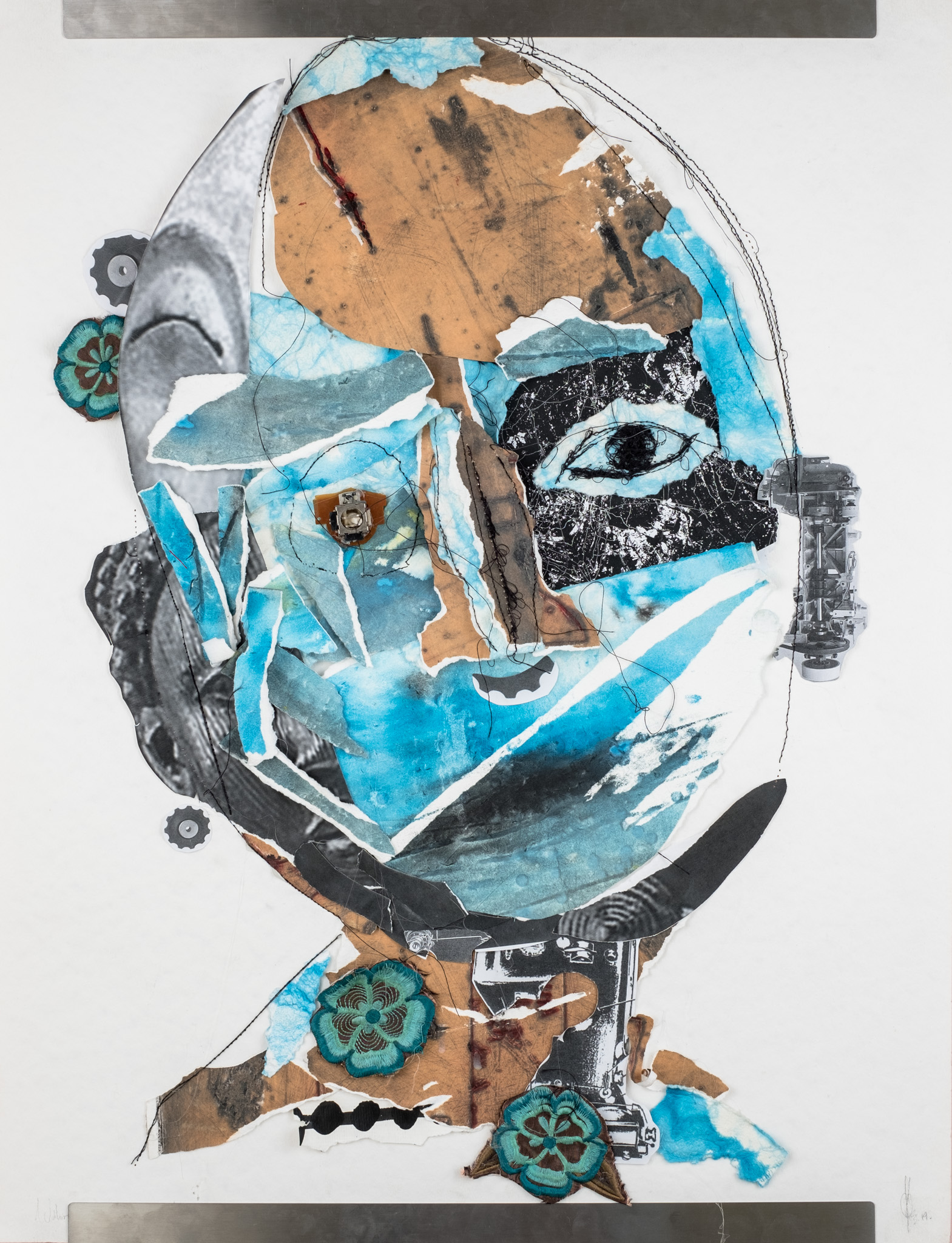 Odirile Khune Motsiri, Fully Fractured and Complet. 2019  Mixed Media – found material on paper  420 x 594 mm  R 3812 ( Unframed)