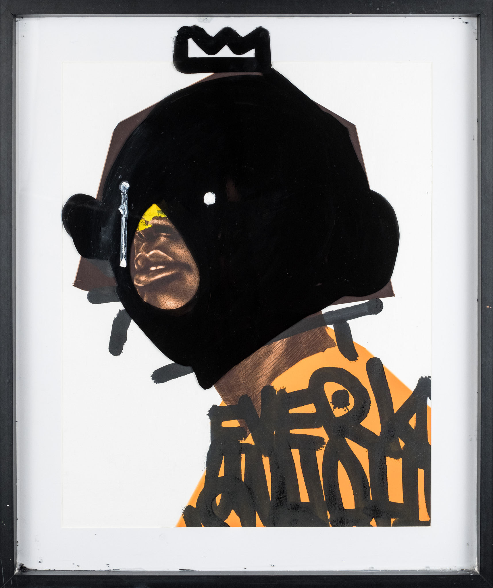 Seth Pimentel, Reflect, 2019  Digital drawing printed on  420mm x 589mm paper  and oil painted on the glass frame  Edition 1/1  R8500 (Framed)
