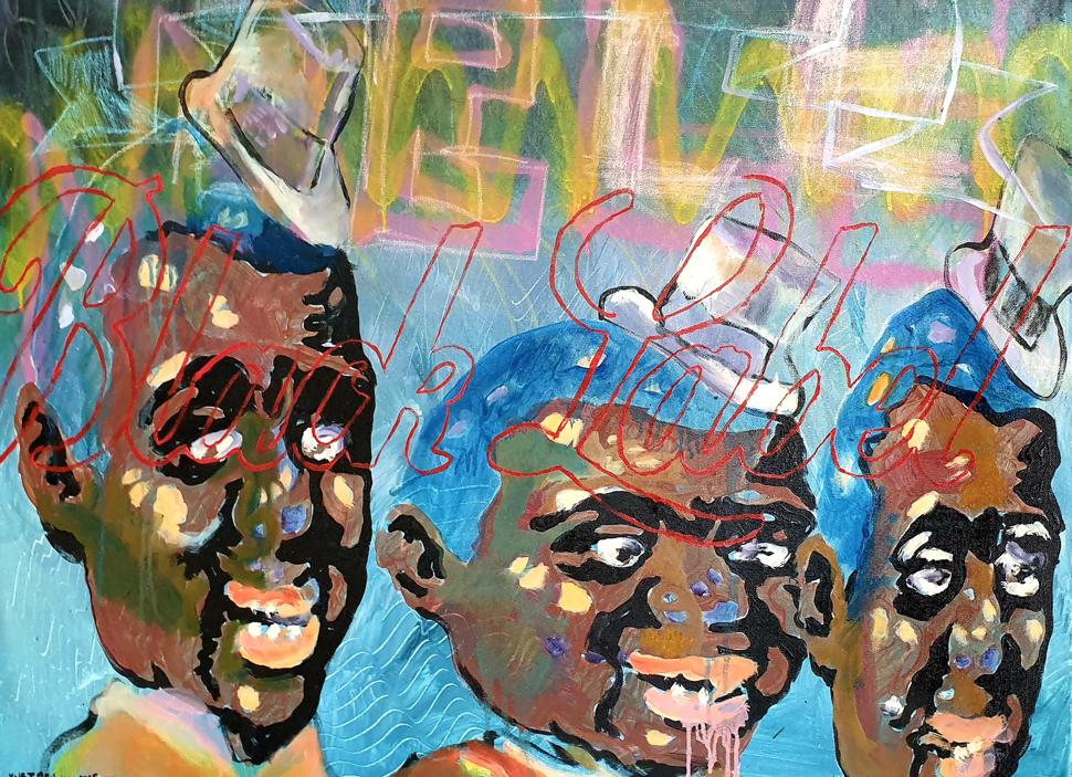 Beauchamp Vusi ,Black Label, 2016  Oil on Canvas 100cm x 100cm  Framed – R25000, Unframed – R23500