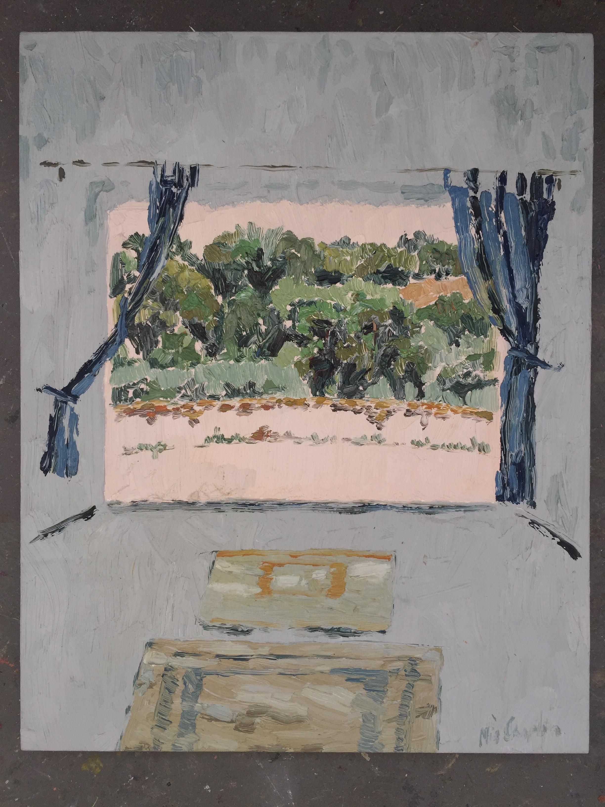 Mia Chaplin ,Baby Blue studio at Evoramonte. 2015  72.5 x 53.5cm  Oil on Paper  Framed – R15000