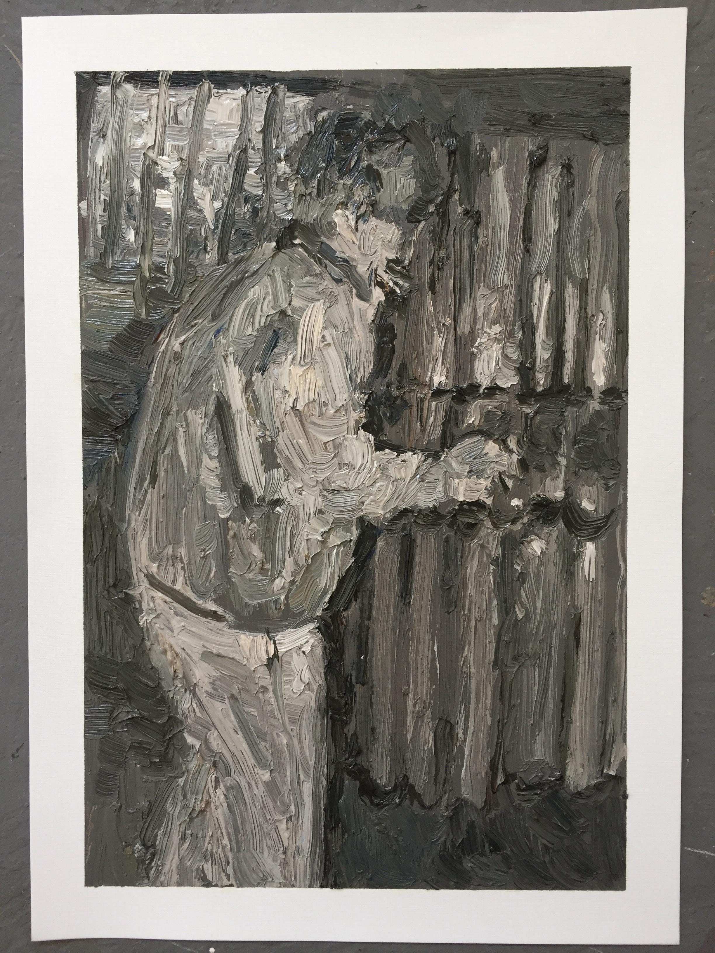 Mia Chaplin, Garage Band, 2018  29,5x42 cm  Oil on paper  Framed – R12000
