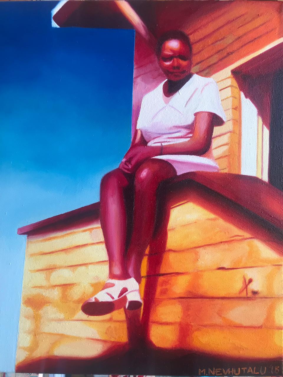 Nevhutalu Mashudu, Summer School II, 2018  Oil on Canvas  29,7cm x 42cm  Framed – R5400