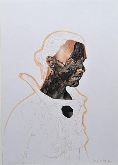 Leanne Olivier, Slipcast Portrait, 2015  Oil paint and Pigment  30cm x 42cm  Framed – R5400