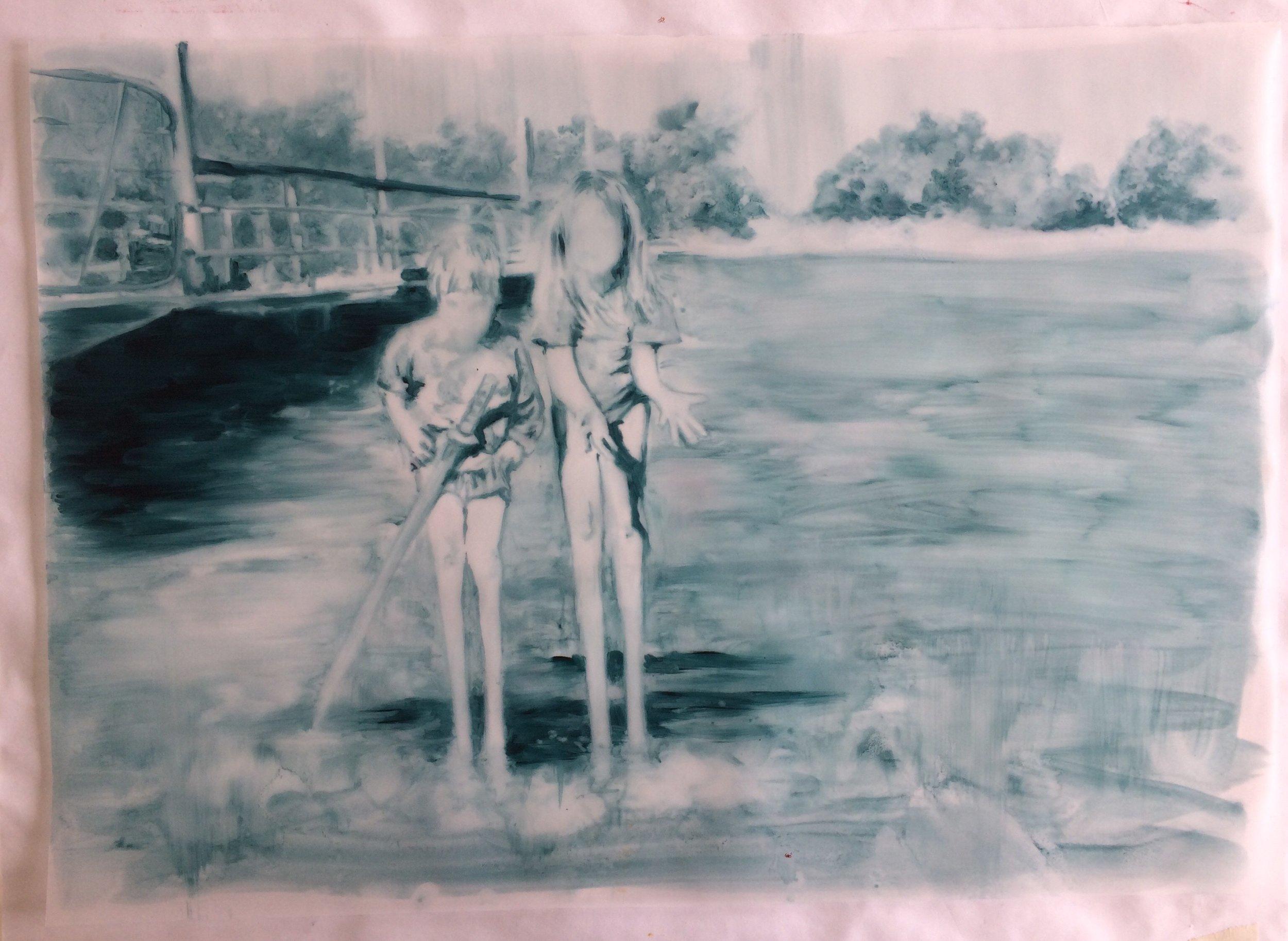 Swinney Ruby, Before the Crossing, 2018  Oil on Tracing Paper  59,5cm x 42,5cm  Framed – R 9500  Unframed – R 8500