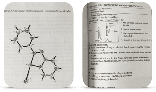 The Crystalline Structure of the new chemical Dan King discovered (Phenylazophenyl-C,N) selenium(II) chloride iodide and a page from 50 Fantastic Chemistry Demonstrations.