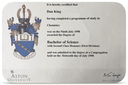 Dan King's 2i BSc (Hons) in Chemistry