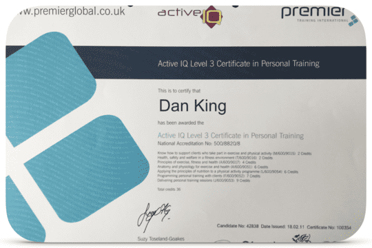Dan King Qualified Fitness Instructor.