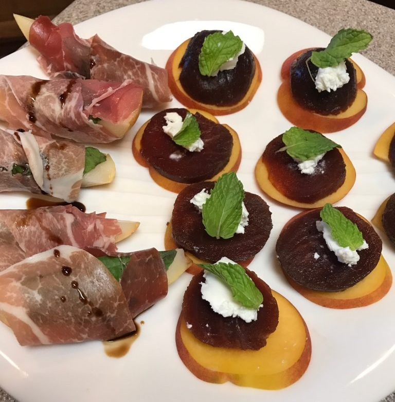 Prosciutto & Basil Wrapped Pears | Peach, Beet, Chèrve, Mint