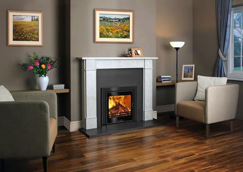 Calypso inset stoves are available in 5kW output with either glass or steel door & frame