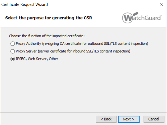 Watchguard Certificate Request Wizard