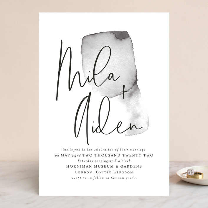 The Modern Collection - Featured Design: Moxie, a watercolor, minimal wedding suite with calligraphy—perfect for an organic yet minimal wedding aesthetic.