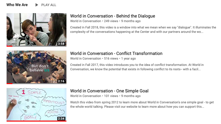 VIDEOS TO WATCH   We've curated plenty of moments to share with you. This page highlights some of the playlists on our YouTube channel.