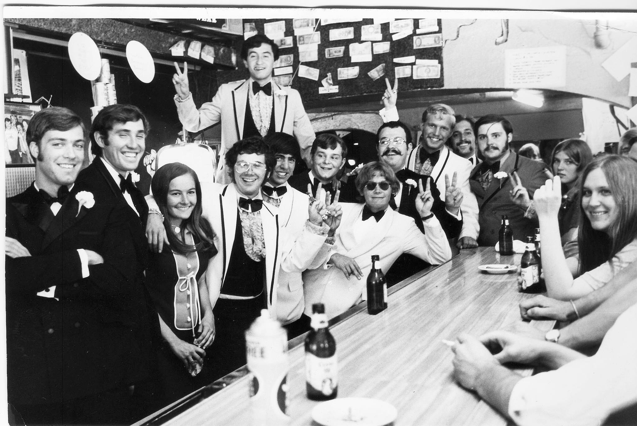 Chuck Morris and friends at The Sink for formal night. Circa 1968