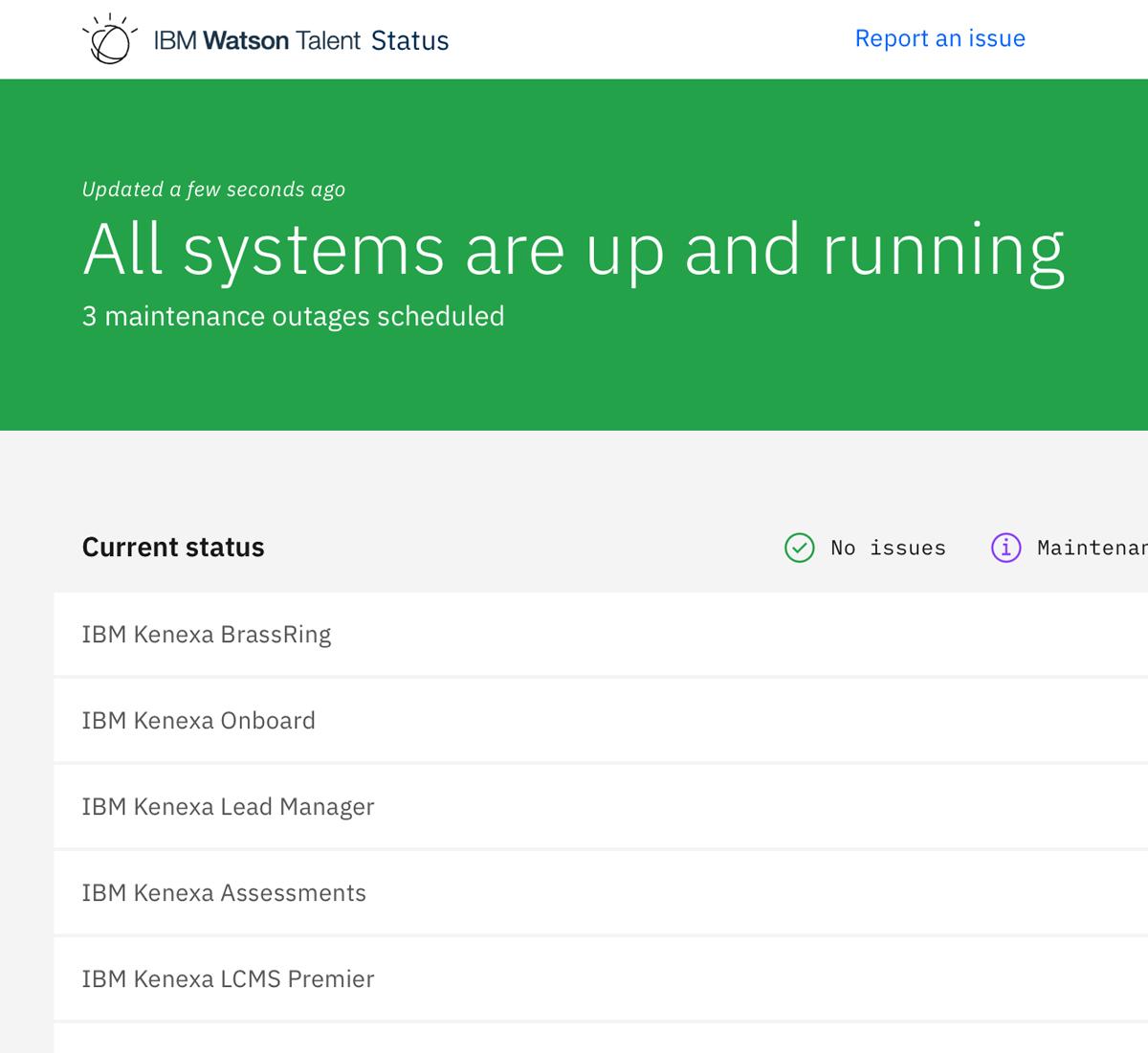 Watson Talent Status Page