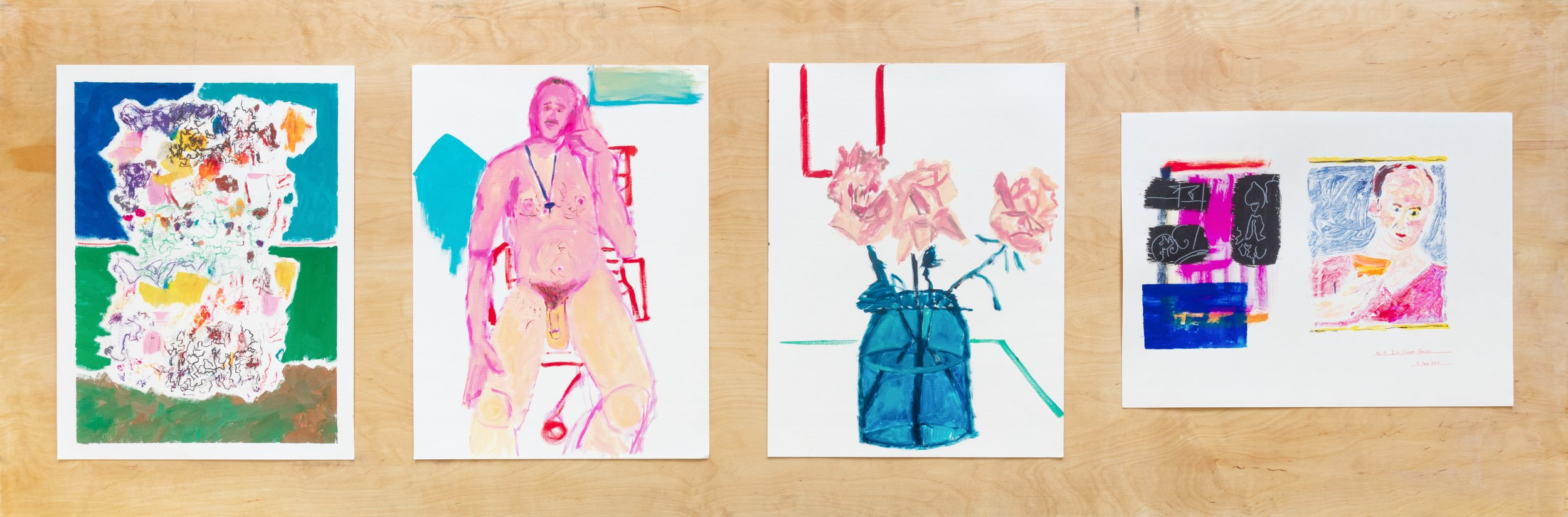 4 paintings on paper: installation shot, solo exhibition at 356 Mission, Los Angeles (2015)