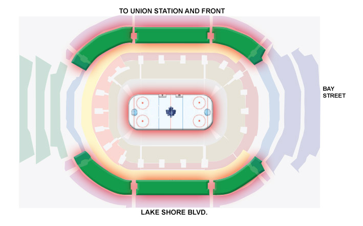 Green Packages - - First 12 rows in the upper level, corners and sides of ice2 ticket Green Package ($225 per ticket) = $225 x 22 tickets = $4,950 + HST3 ticket Green Package ($237.50 per ticket) = $237.50 x 33 tickets = $7,837.50 + HST4 ticket Green Package ($250 per ticket) = $250 x 44 tickets = $11,000 + HST