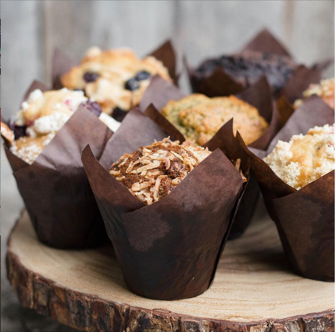 A picture of freshly baked muffins from the Vintage Grocers' bakery.
