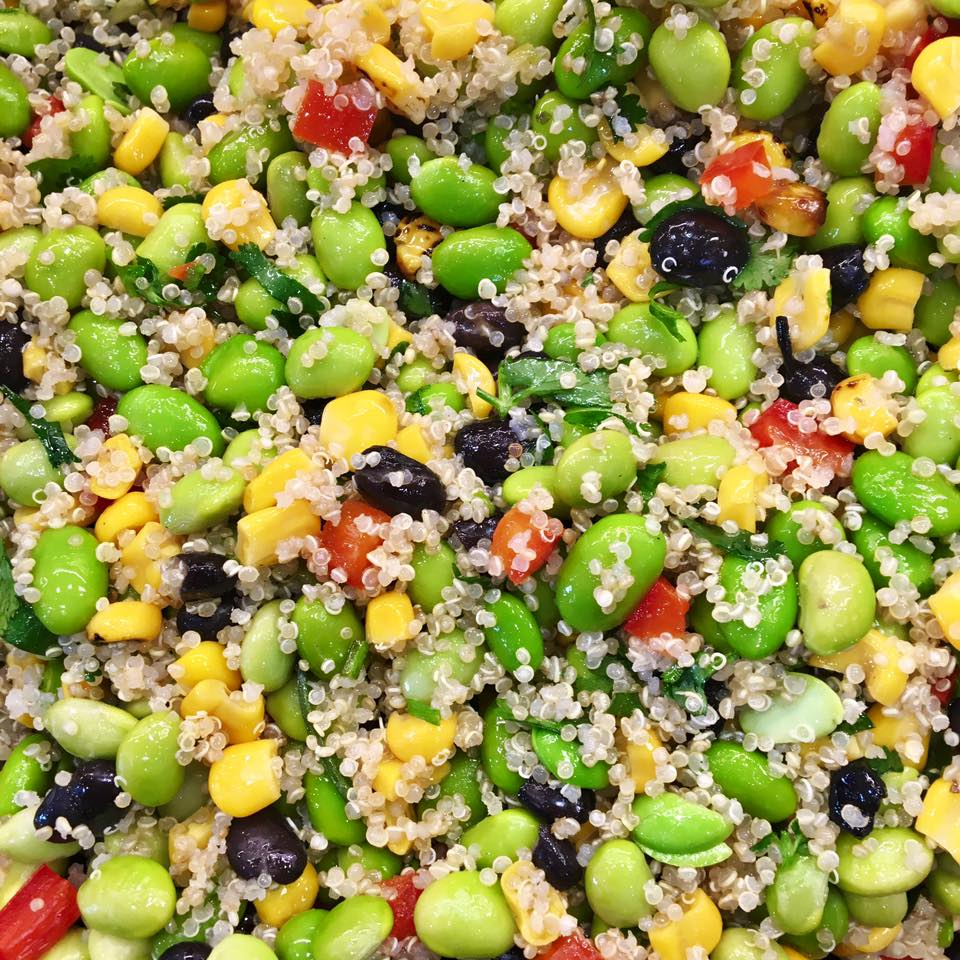 A picture of our fresh Quinoa, edammame and bean salad.jpg