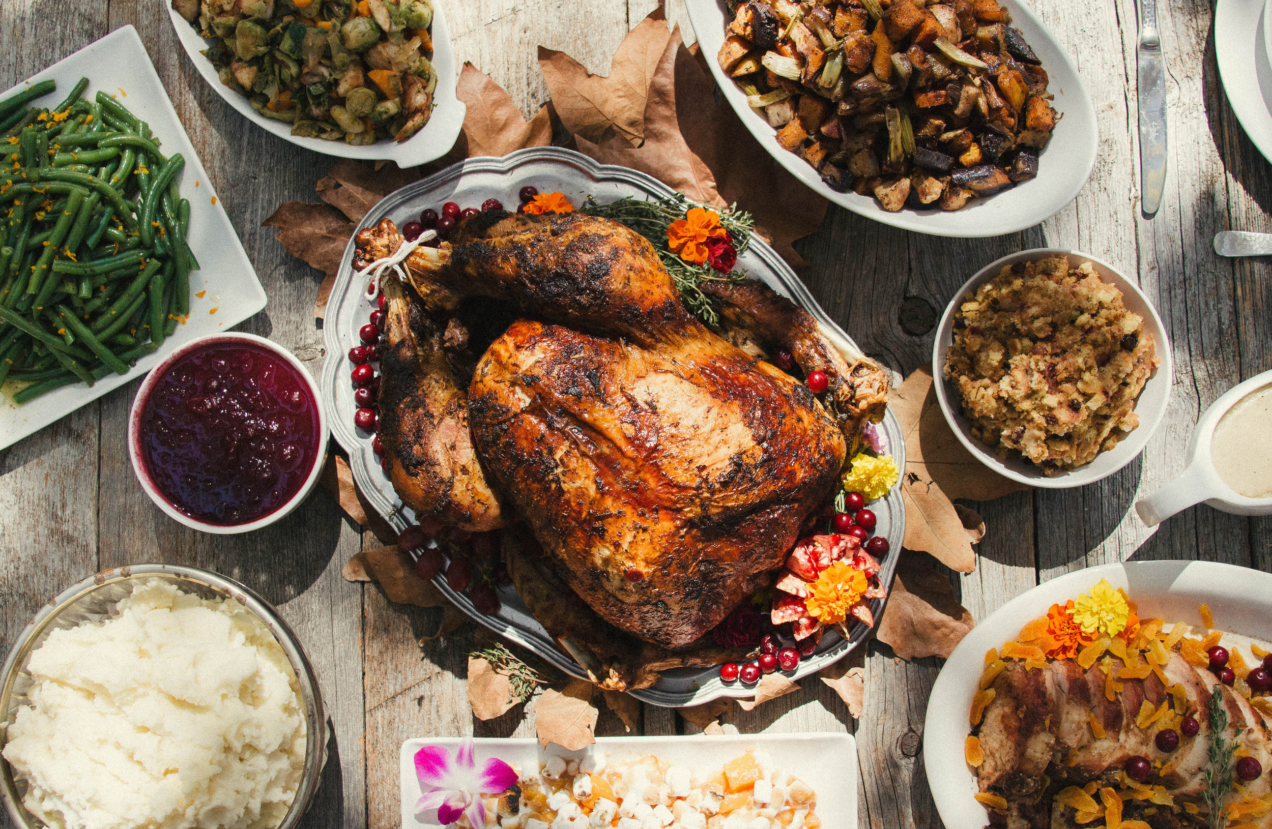 An outdoor turkey dinner with sides.jpg