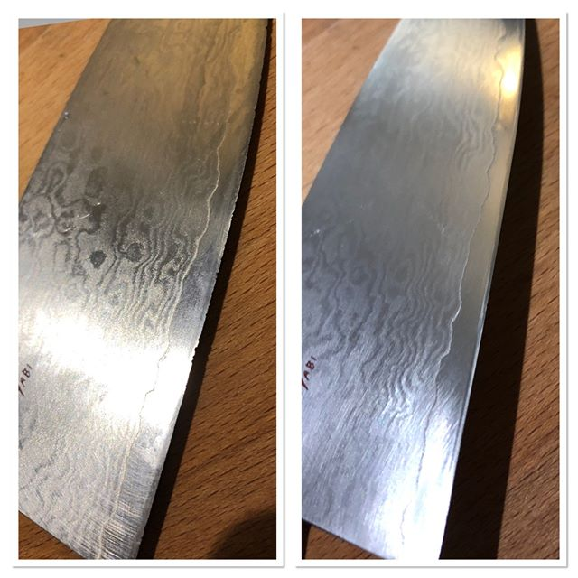 A miyabi gyuto that had a few small chips in it. It came for a touch up. Its happy owner was glad it got fixed and didn't tear into food anymore  #japaneseknives #knife #knifestagram #knifenut #knifecommunity #knivesofinstagram #knifeporn #knifepics #handsharpening #whetstone #sharpening #sharperissafer #sharpknives #sharptoronto