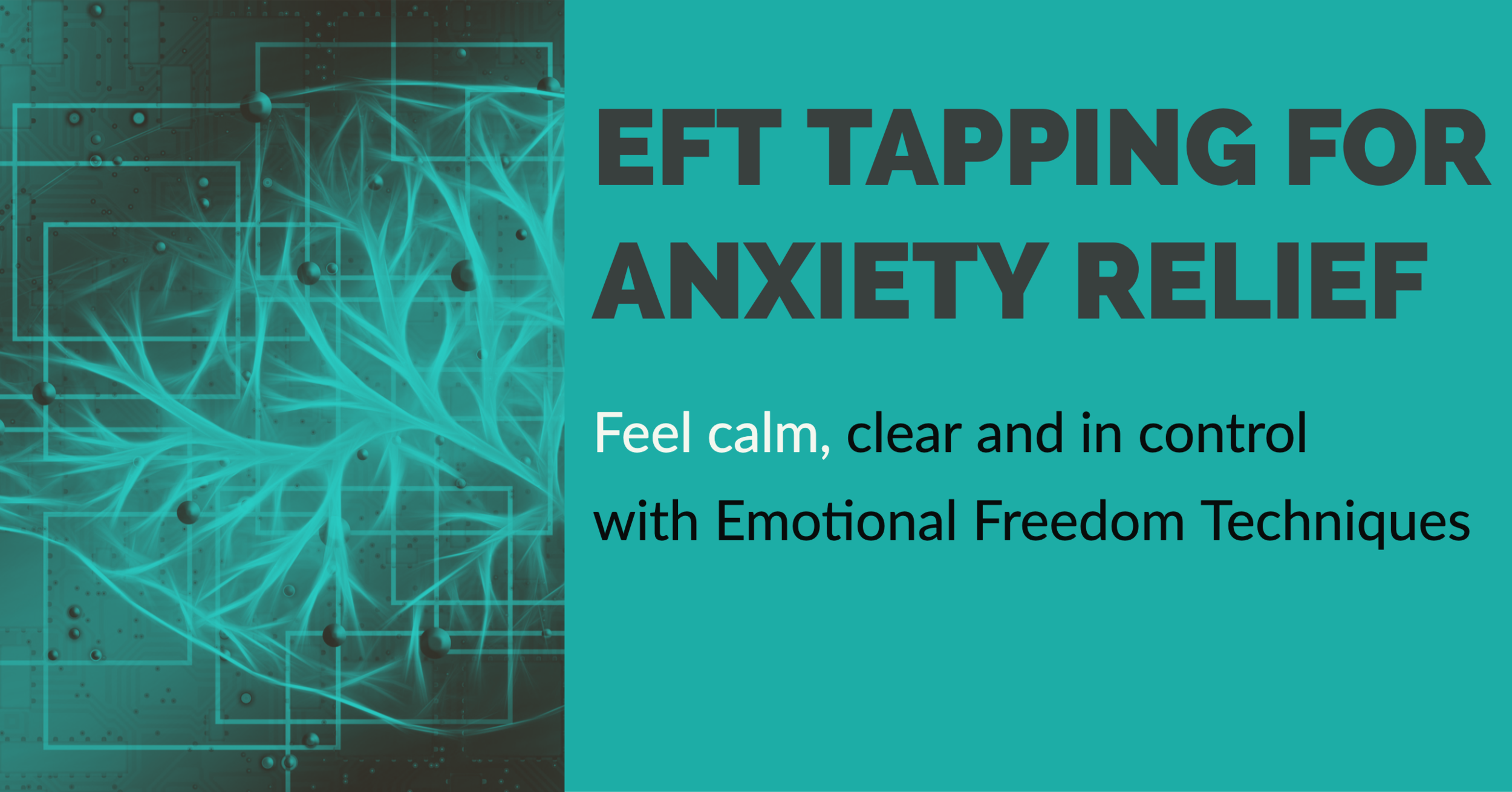 Everything you need to know to conquer your anxiety with EFT Tapping - Over the last ten years, Emotional Freedom Techniques (EFT) has gained world-wide acclaim for it's effectiveness in reducing the intensity of traumatic memories. Scientific studies have focused on the application of EFT in the treatment of depression, anxiety and trauma with positive results.EFT for Anxiety Relief will help you learn to use EFT quickly and easily. You will find audio recordings and a comprehensive guidebook created to help you start feeling relief from your anxiety today. You will develop awareness of your emotions and anxiety triggers and work in a self-respecting way to gently and thoroughly address your anxiety and help you move towards a calmer, happier life.