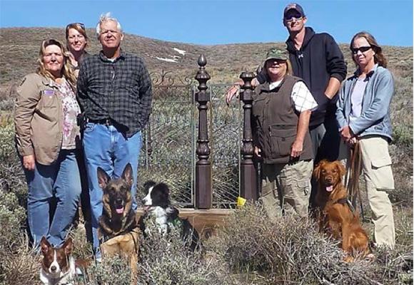 ICF teams surveyed several of Bodie's cemeteries in June, 2011. From left: Adela Morris, Terri Geissinger (Bodie Foundation), John Grebenkemper, Kris Black, Benjamin Peek and Chris Dillier. Canine team members (l-r): Rhea, Osara, Kayle and Jess.