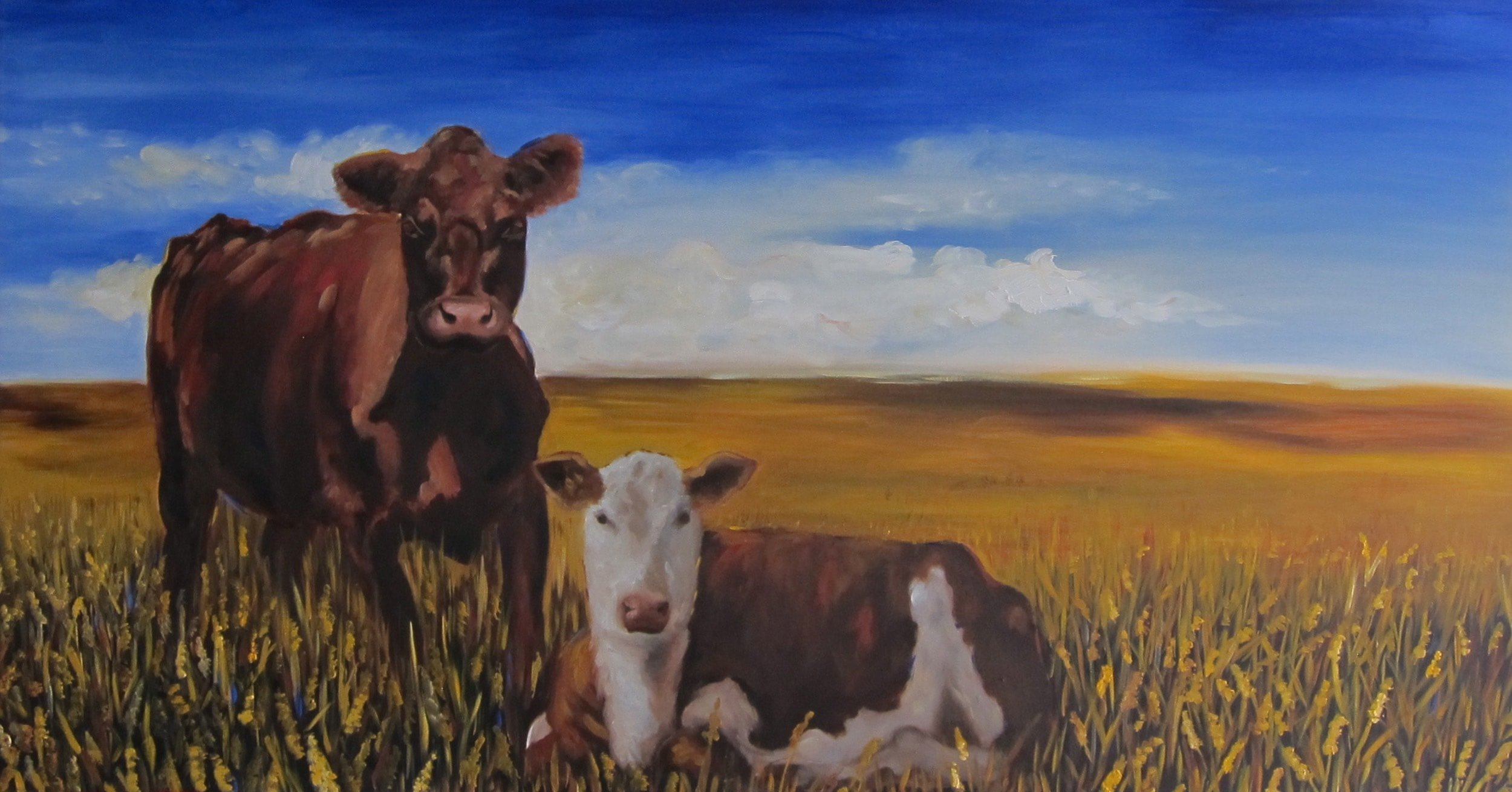 "COW FRIENDS 36"" X 48"" - SOLD"