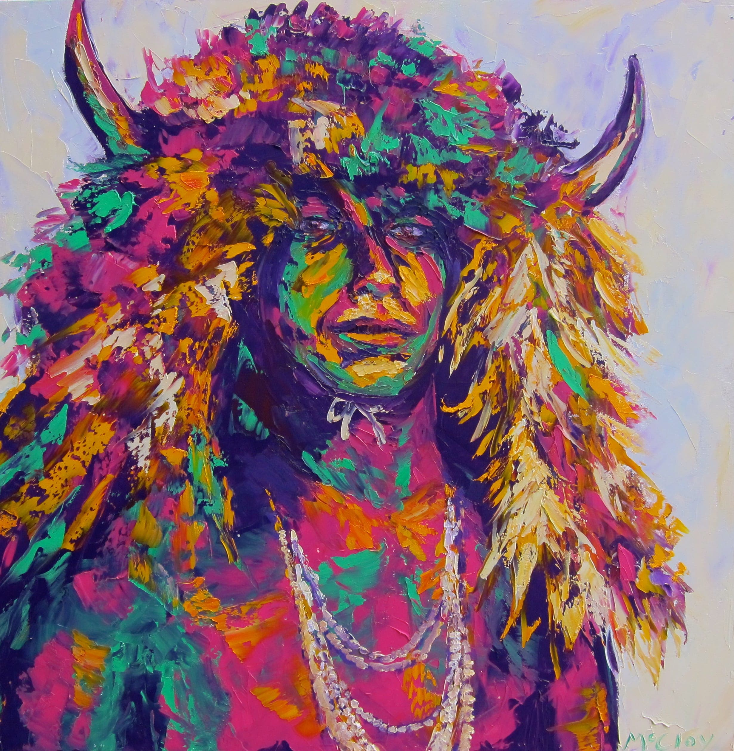 "BUFFALO WARRIOR 30"" x 30"" - SOLD"