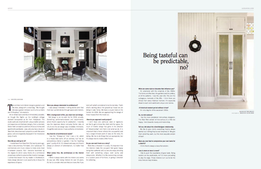 Interview for LA CANVAS MAGAZINE / Print / The Design Issue
