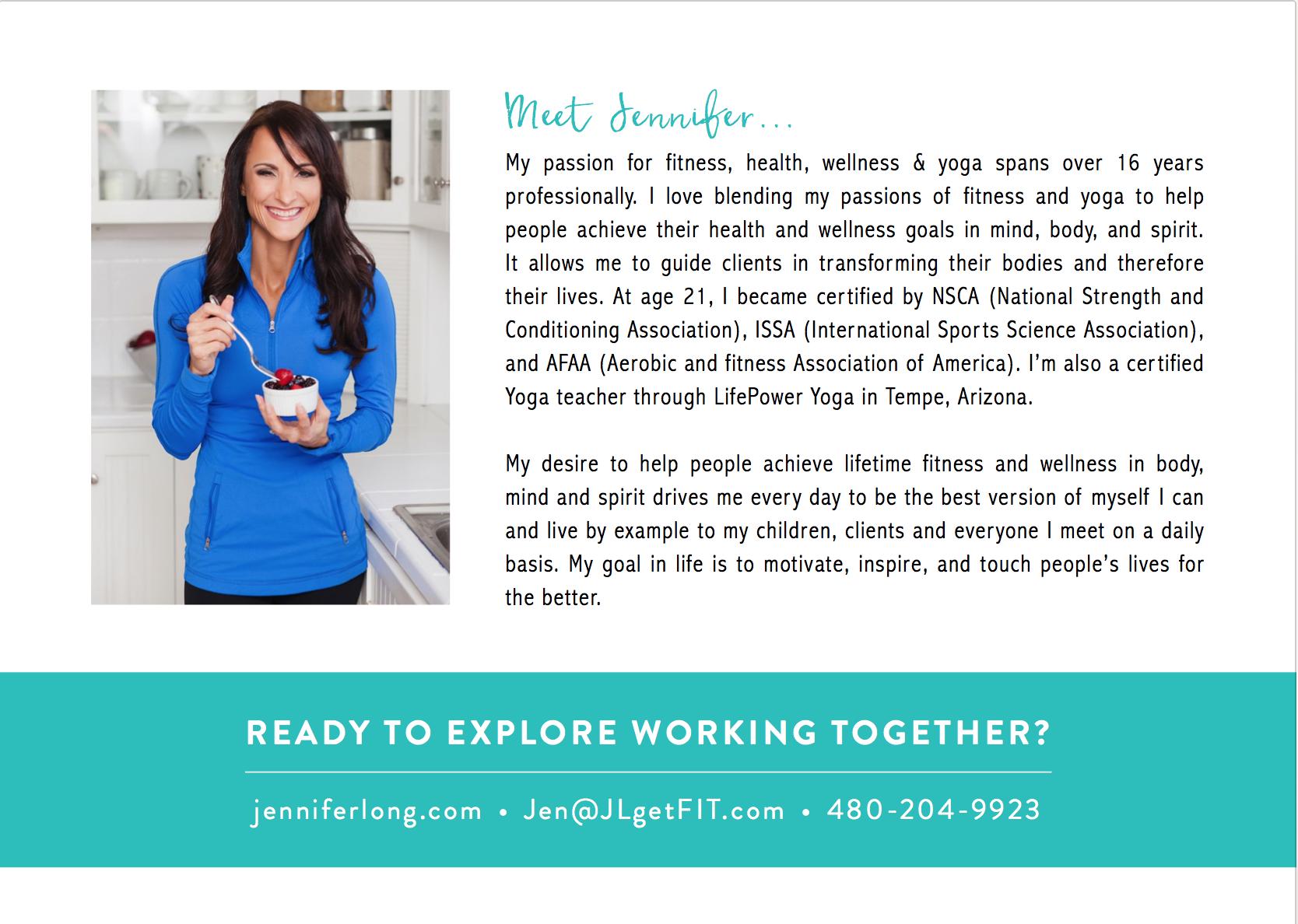 Jennifer Long Personal Trainer Flyer Design (Back)
