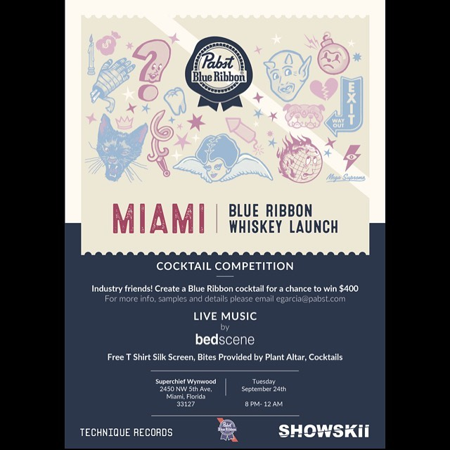 ‼️Just Announced⚠️ Join Us!  Tuesday, September 24, 2019  #Miami | Blue Ribbon Whiskey Launch  Showskii Music has partnered up with #PabstBlueRibbon to present Bed Scene at the Miami: Blue Ribbon Whiskey Launch!  As legend has it, Jacob Best would have been making whiskey before beer in 1844. He set out to create an easy drinking whiskey that was better than the imports on the market. So, 175 years later we are following Jacob's lead and helping to launch BLUE RIBBON #WHISKEY.  Come celebrate the launch of just what 175 years of #PBR can create!  This event will be featuring art work and live mural painting by David Cabassa, (designer of the limited edition bottle label), along with local Pabst-crazy artist Jorge George (aka. Degenerate Scholar). Judges will be selecting cocktails submitted by local accounts and the winning bartender will receive a $400 prize. Additionally, there will be free live t-shirt silk screening, treats provided by Ms Cheezious, live music by Bed Scene and DJ's spinning vinyl all night.  We invite you to attend this exclusive, RSVP, 21+ only experiential event.  Free rsvp via link in bio!
