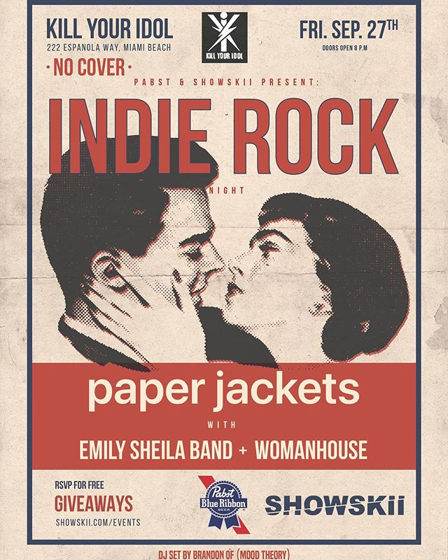 Friday night never felt so right ~  Catch the next show tomorrow at @kyimiami! Paper Jackets (LA) are headlining, with local support by @emilysheilaband & @womanhouse__ you won't wanna miss it. Free99 rsvp via link in bio. 21+ ⚡️✨
