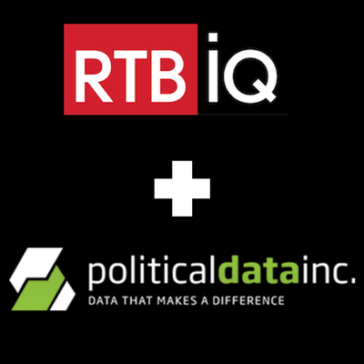 "Black background with text overlay ""RTBiQ + Politicaldatainc. Data that makes a difference"""