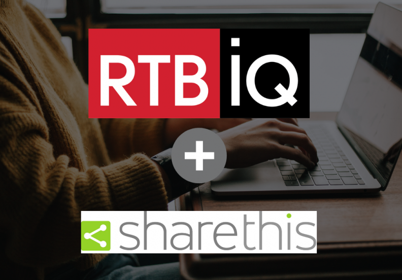 RTBiQ and ShareThis logos overlaid on image of person typing on laptop.