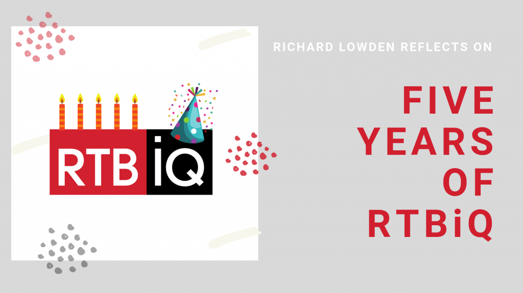 """graphic of RTBiQ birthday logo on grey background with text """"Richard Lowden reflects on five years of RTBiQ"""""""