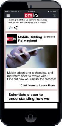 Iphone displaying RTBiQ native ad