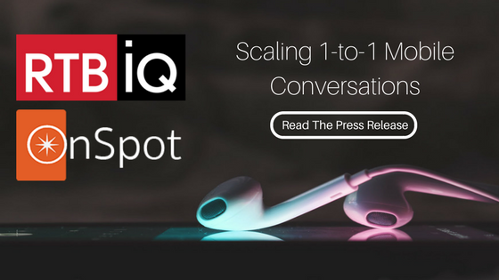 "Photo of earbuds with text overlay ""RTBiQ, OnSpot; Scaling 1-to-1 mobile conversations; Read the press release"""