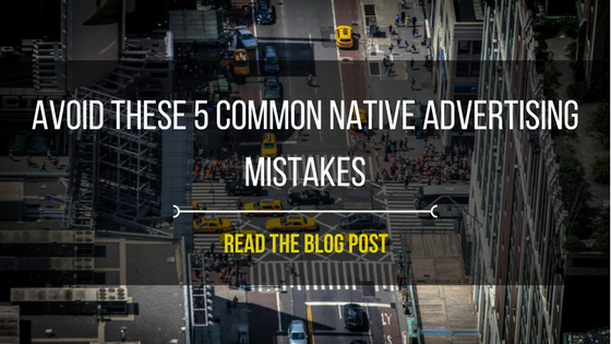 "Aerial shot of a city street with text overlay ""Avoid these 5 common native advertising mistakes; read the blog"""