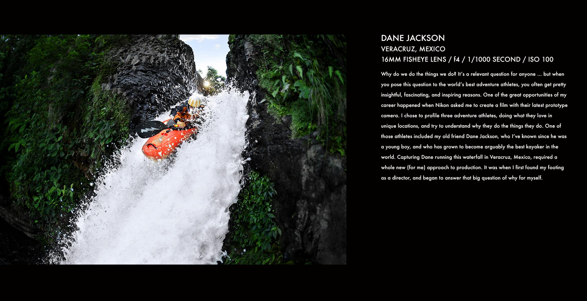 dane jackson, kayaking, whitewater, waterfall, stories behind the images, corey rich