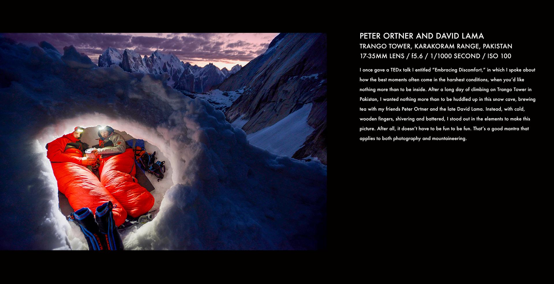 David Lama, Peter Ortner, snow cave, snow, climbing, rock climbing, mountain climber, corey rich, stories behind the images