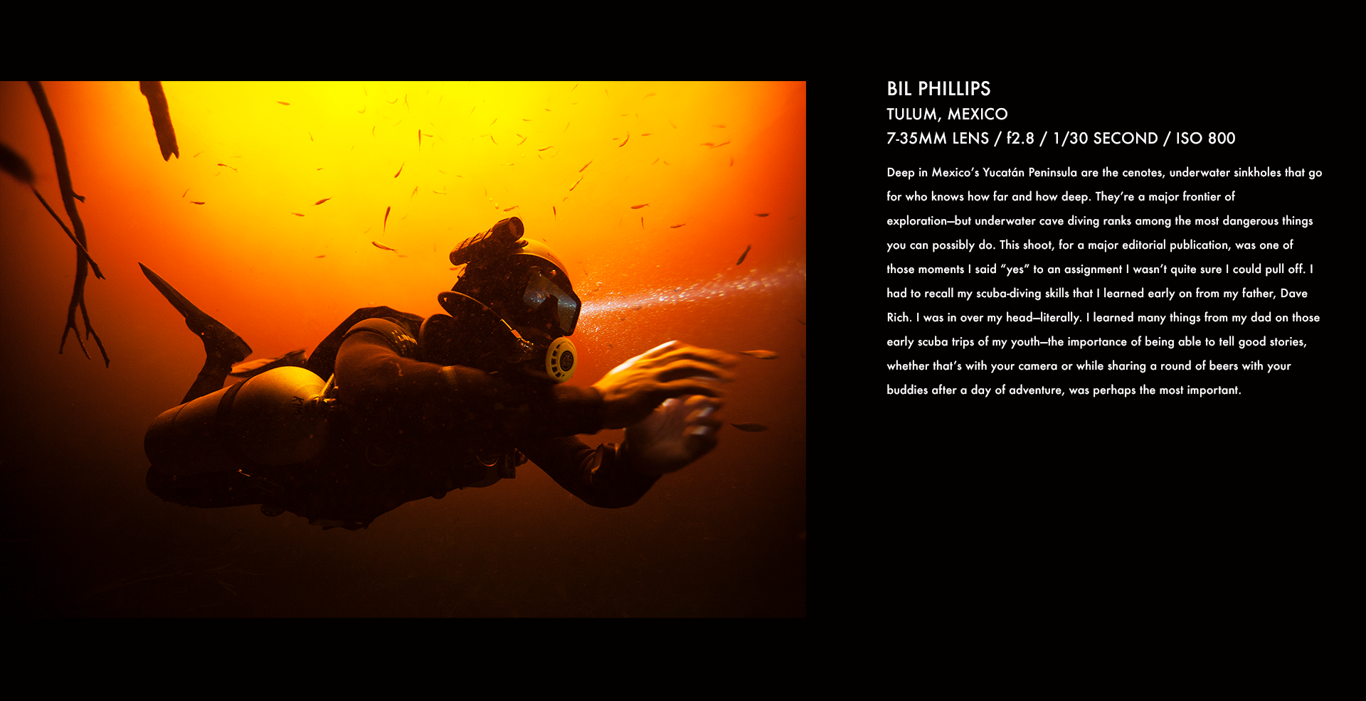 bill tulum, mexico, diving, underwater, action sports, caving, underwater cave, corey rich, stories behind the images
