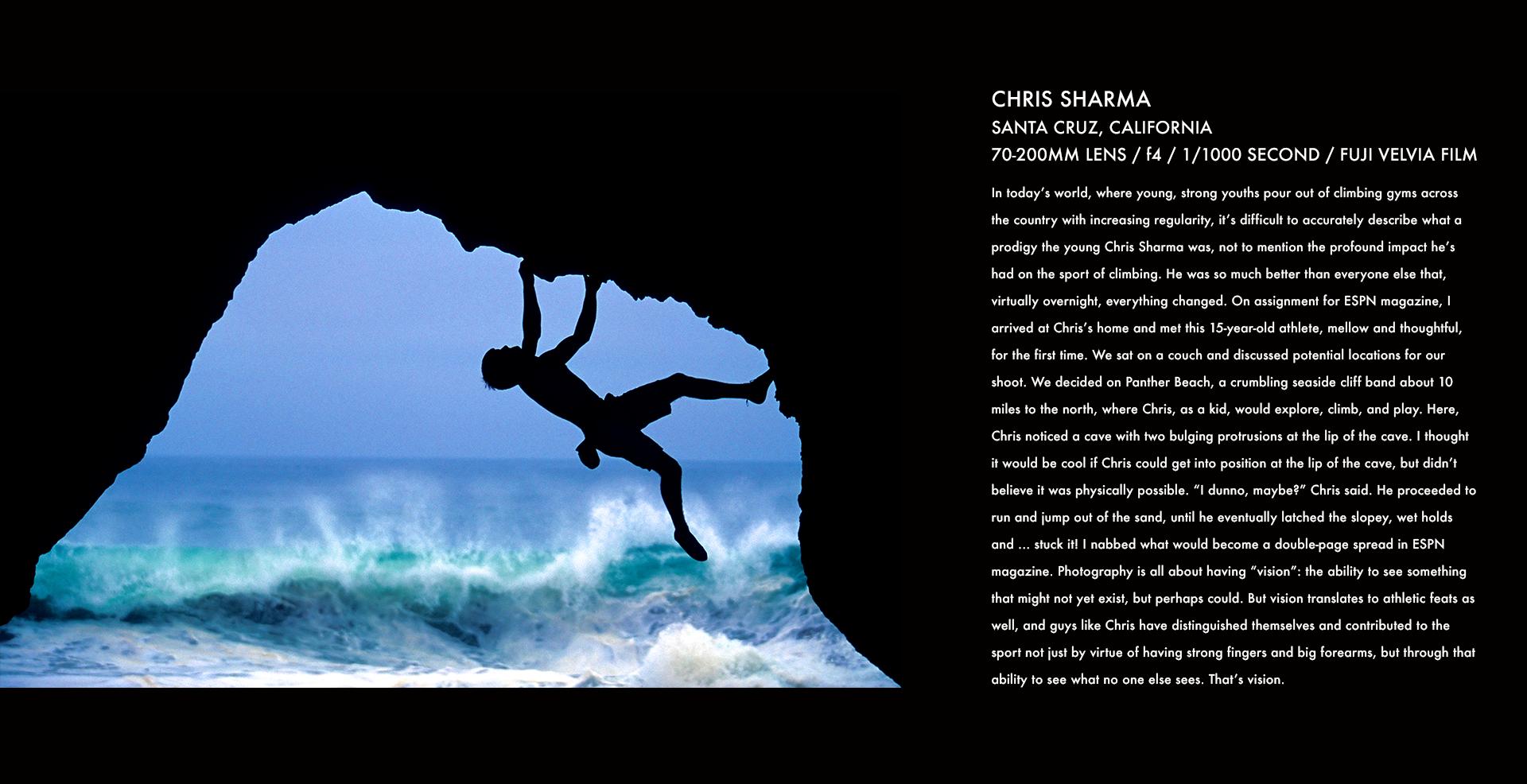 chris sharma, climbing, santa cruz, corey rich, stories behind the images