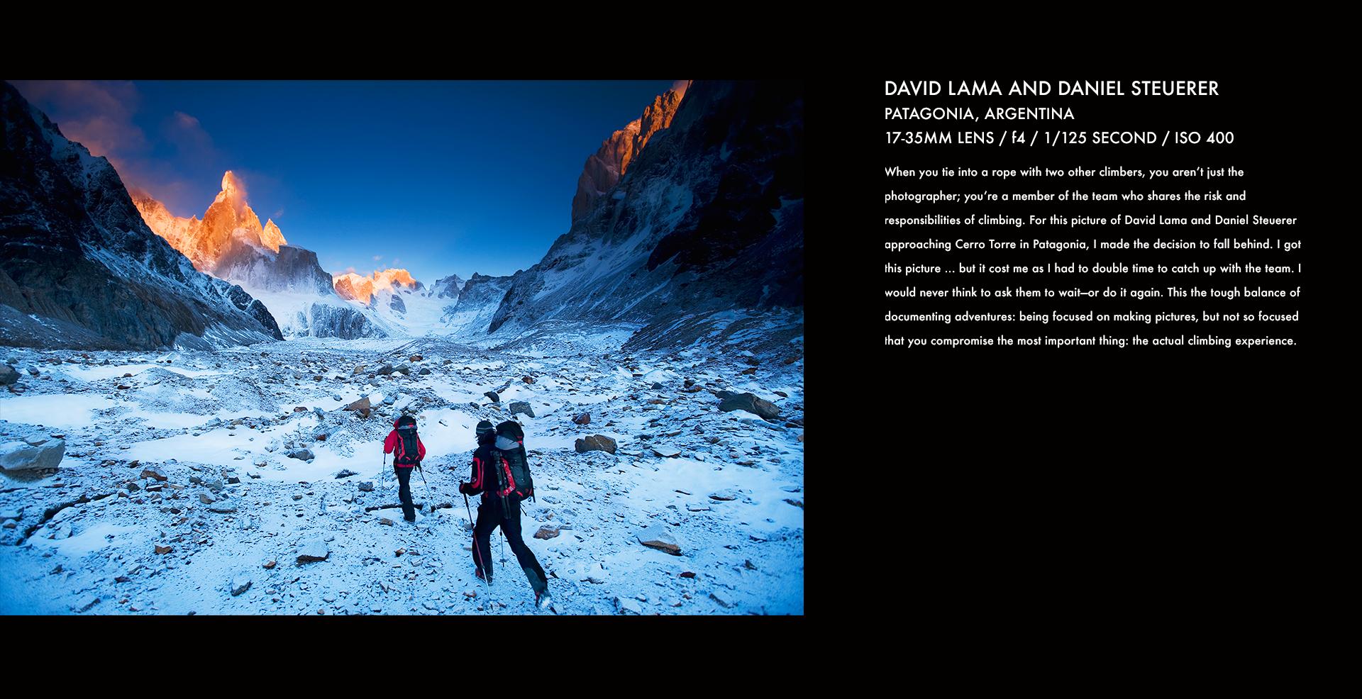 David Lama, Daniel Steuerer, Patagonia, climbing, mountain climbing, climbers, snow, golden hour, stories behind the images, corey rich