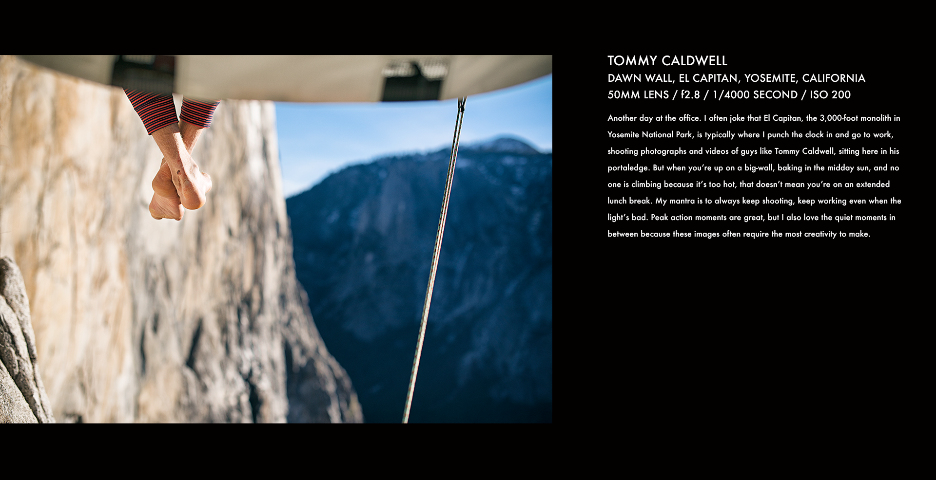 Tommy Caldwell, portaledge, Dawn Wall, Yosemite, climbing, rock climbing, stories behind the images, corey rich