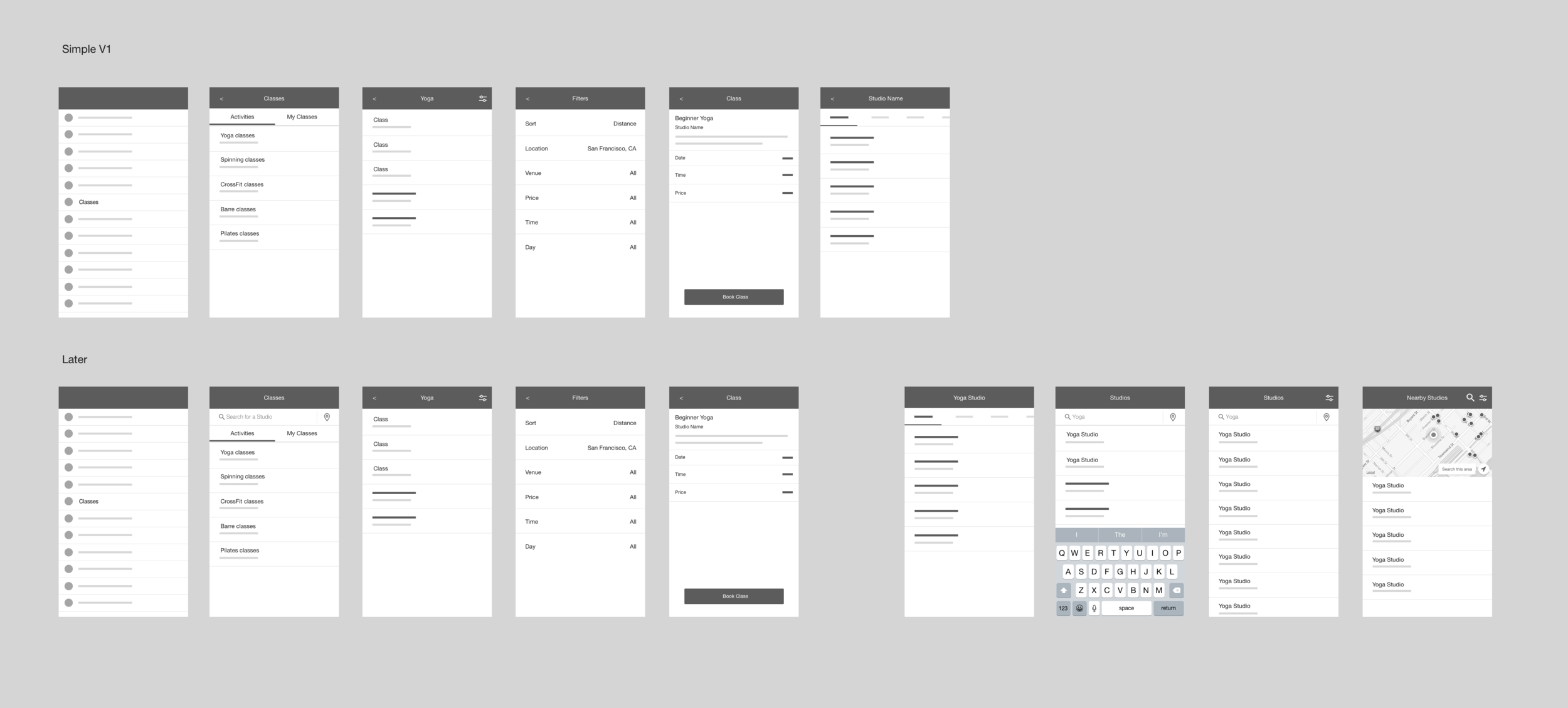 Low-fidelity wireframes were created to quickly review and discuss our primary user flows.