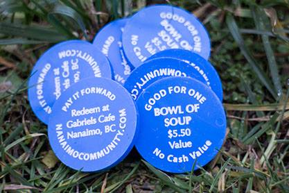 Tokens for Gabriels cafe in Nanaimo, BC.  Good for one bowl of soup